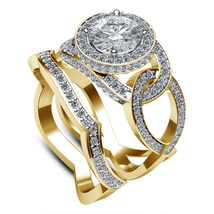 Twisted Bridal Ring Set Round Cut White CZ 18k Gold Plated 925 Sterling ... - $128.99