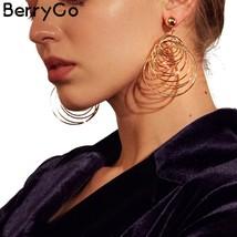 BerryGo Trendy multilayer big round-shaped gold earrings Hyperbole stree... - $14.99