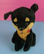 "Peek A Boo Toys Plush Black Tan Dog 8"" Stuffed Animal Doberman Rottweile... - $9.89"