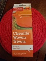KITCHEN DISCOVERY CHENILLE WOVEN TRIVETS RED SET OF 3 - Brand New - $8.41