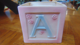 Vintage A B C D Porcelain Block Nursery Planter Inarco E-3527-Pink & Blue - $9.99