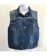 New Look Stretch Denim Vest Woman's Plus Size 3X Distressed Faded Button... - $24.14