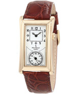 Peugeot Vintage Unisex 14K Gold Plated Contoured Dial Brown Leather Band... - $171.76