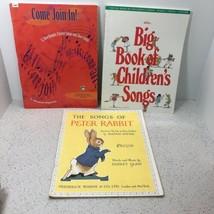 MUSIC BOOKS CHILDREN'S SONGS LOT OF 3, PETER RABBIT, ROUNDS & PARTNER SONGS - $5.94