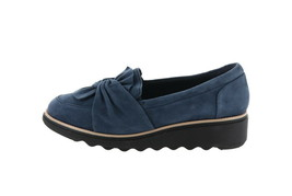 Clarks Suede Slip-On Loafer Knotted Sharon Dasher Navy 6W NEW A311042 - $70.27