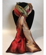 Hand Painted Silk Scarf Coral Olive Green Chestnut Brown Rectangle Uniqu... - £40.98 GBP