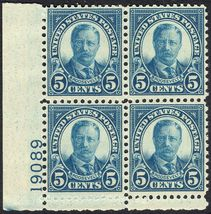 1927 5c Theodore Roosevelt Plate Block of 4 US Stamps Catalog Number 637 MNH