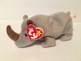 Ty Beanie Babies Plush Beanbag Spike the Rhino Grey with Brown Horn - $7.78