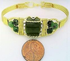Jade Gold Wire Wrap Bracelet Sz. 7.5 - $31.98