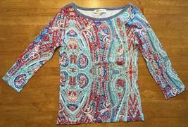 NWT Jones New York Women's Blue, Red & White 3/4 Sleeve Blouse / Shirt -... - $14.01