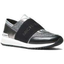 Michael Kors MK Women's Glitter Chain Mesh Shoes Trainers Sneakers Black/Silver