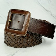 Banana Republic Brown Wide Braided Woven Genuine Leather Belt Size XS - $18.60