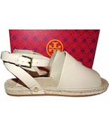 Tory Burch  Ivory Leather Espadrille Flats Sandals Loafers Mules 7 Ankle... - $138.00