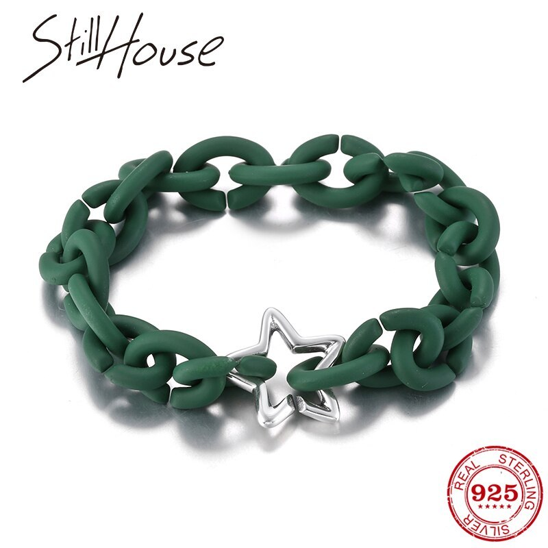Primary image for 925 Serling Silver Men bracelet beads sar Sea Green Hard Rubber bracelets Fashio
