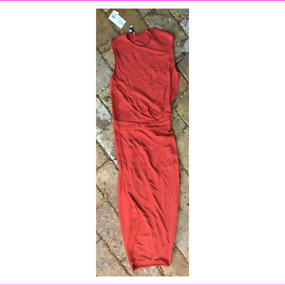Primary image for $1995 Narciso Rodriguez Red Drape Vented Dress, size 4, Italy 40