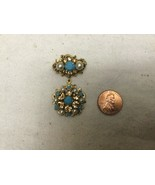 """Vintage Marked Austria Turquoise Amber Pearl Gold Tone Pin Brooch 2"""" - $34.65"""