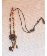 Estate Antique Goldtone Chain w Bronze Plastic Beads & Rhinestone Flower... - $10.39