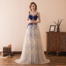 Womens Elegant Sheer Bodice Prom Dresses Long Sexy Party Gown 2018 Eveni... - $128.99