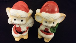 Mouse Boy & Girl Set In Santa Suits - Porcelain [Homco] Merry Christmas - $25.00