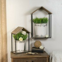 Set of 2 Metal Wall Planters with Wood Tops House Shape Planters with Me... - $124.95