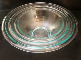 Set of 3 Pyrex Clear Glass Bowls 322-323-325 EXcellent Cond - $41.76