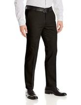 Men's Formal Slim Fit Slacks Trousers Business Black Belted Dress Pants 38x32 image 1