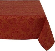 Mahogany Peacock 60-Inch by 120-Inch Orange/Red Tablecloth, Cotton Jacquard - $88.29