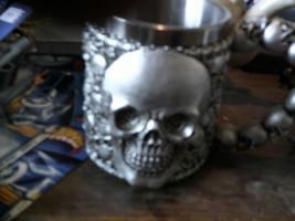 BRAND NEW TAINLESS STEEL SKULL COFFEE MUG - $21.95