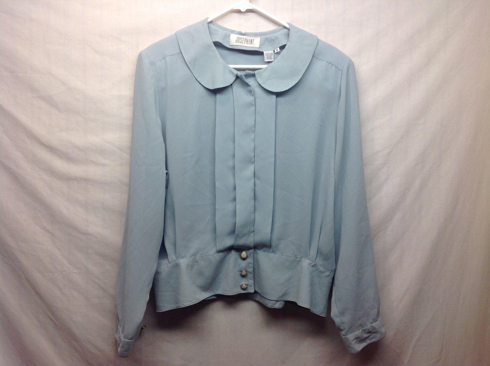 Josephine Baby Blue Button Up Blouse Sz 18