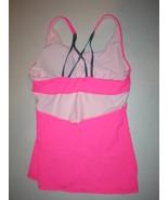 New Womens Athleta Top M Tank Yoga Gym Pilates Bra Bright Pink Gray Stra... - $24.00