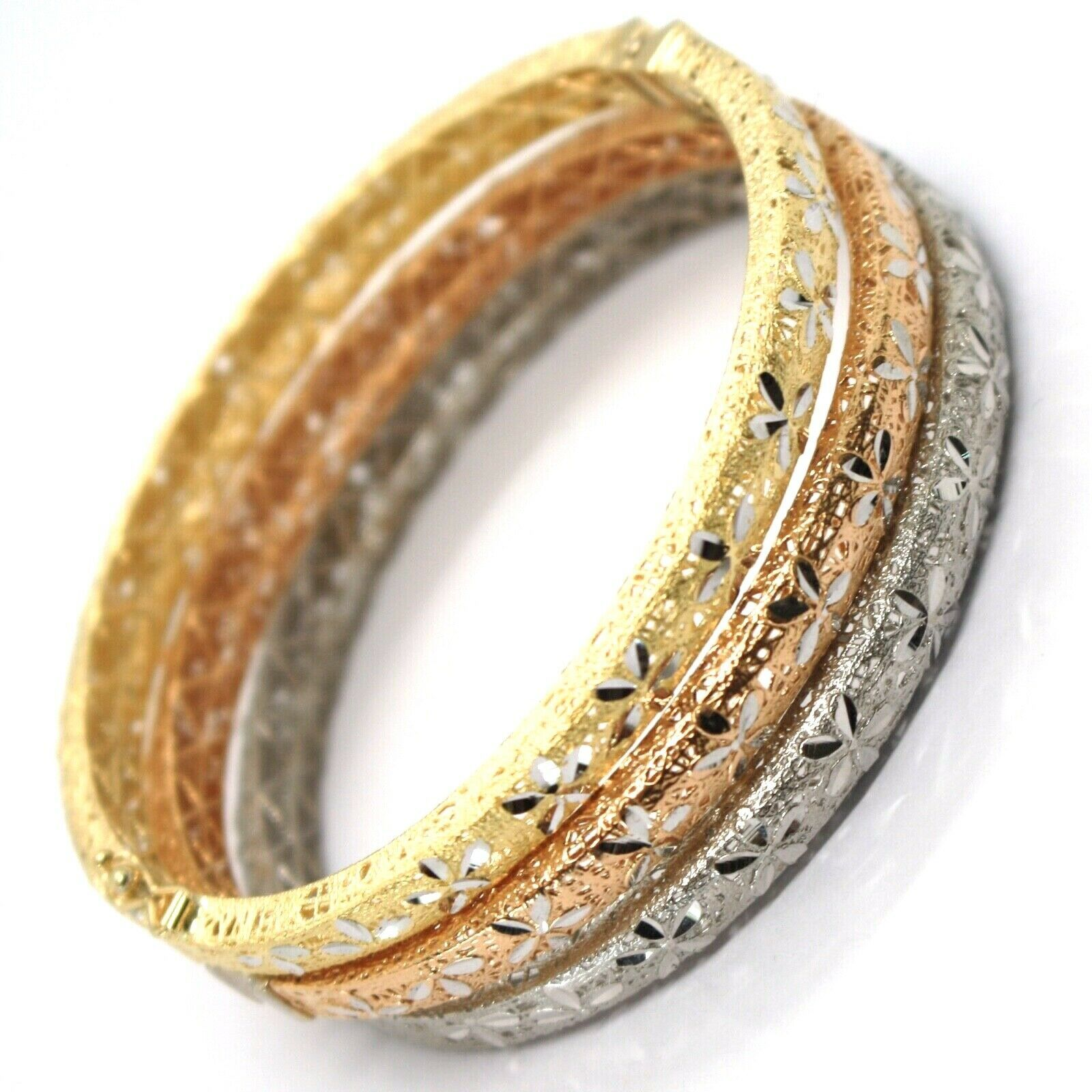 Bracelet en or 750 18K, Jaune ou Blanc ou Rose, Rigide, Lavoration Nid, Fleurs