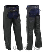 Black Solid Genuine Leather Motorcycle Riding Chaps with Full Lining Adj... - $49.99