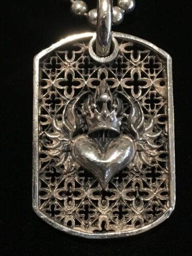 "KING BABY Studio Sterling Silver Relic Flaming Heart Dog Tag (22"")"