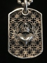 "KING BABY Studio Sterling Silver Relic Flaming Heart Dog Tag (22"") - $350.00"