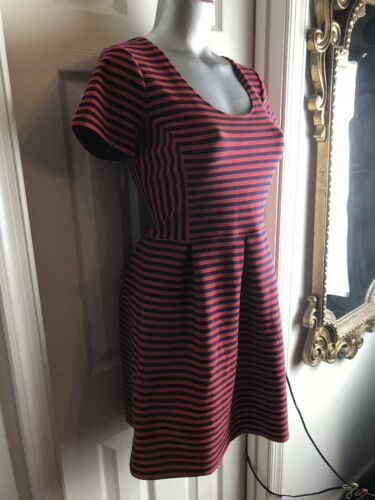 J. Crew Womens -Size 4 -Red/Navy Stripe Scoop Neck S/S Ponte Dress -A0120 image 3