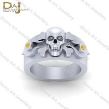 0.06ct Yellow Diamond Skull Bones Ring Unisex Skull jewelry Gothic Weddi... - £102.77 GBP+