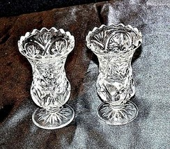 Cut Glass Goblets with Detailed Design AA18-11803 Vintage Heavy image 2