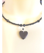 black stone heart necklace pendant beaded wire choker glass seed bead je... - $5.99