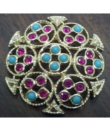 "Sarah Coventry ""Ceylon"" Brooch Magenta and Turquoise in Gold Toned Setting - $11.20"