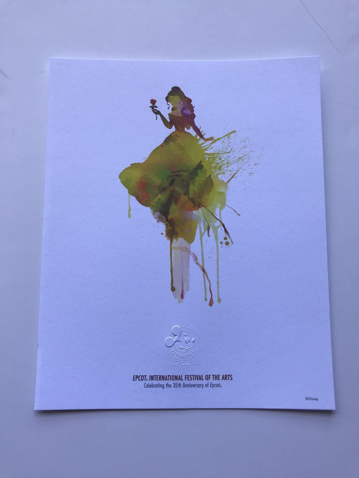 Disney Parks Epcot Festival of the Arts 8x10 Passholder Belle Print New