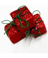 1 in. Set 3 Glittery Wrapped Christmas Present Gift Dollhouse Miniatures... - $1.85