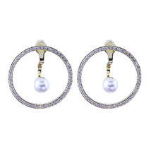 Fashion 18k Yellow Gold Plated Hoop Earrings Women White Pearl Jewelry A... - $12.99