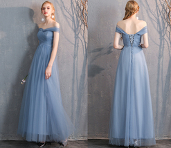 Maxi Bridesmaid Dress Tulle Bridesmaid Dresses with Sleeves Dusty Blue Burgundy image 5