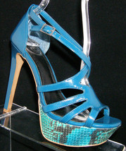 Jessica Simpson 'Bleecker' blue man made ankle strap platform heel 6B - $28.29