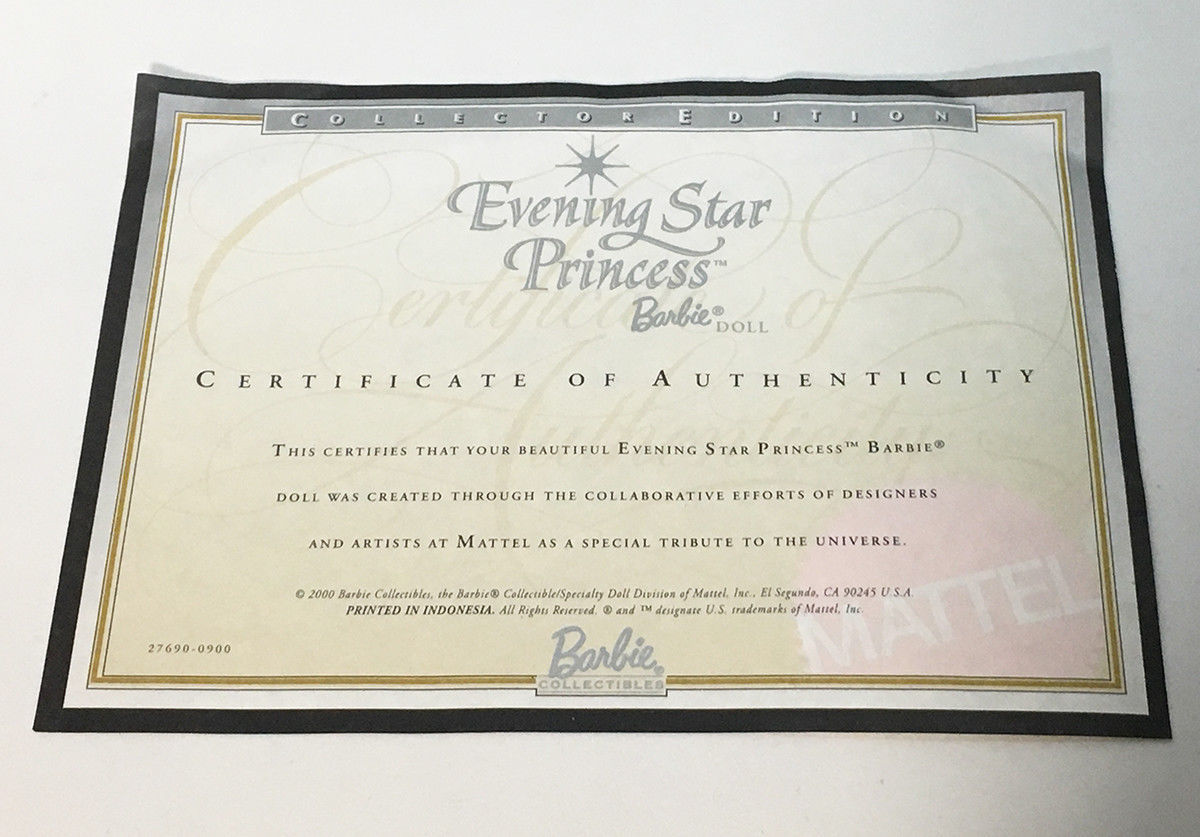 Primary image for Evening Star Princess Barbie Doll Certificate of Authenticity COA ONLY • 2000