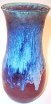"Glazed 6-1/2"" Blue and Oxblood Art Pottery Vase, Signed Colleen? - $18.99"