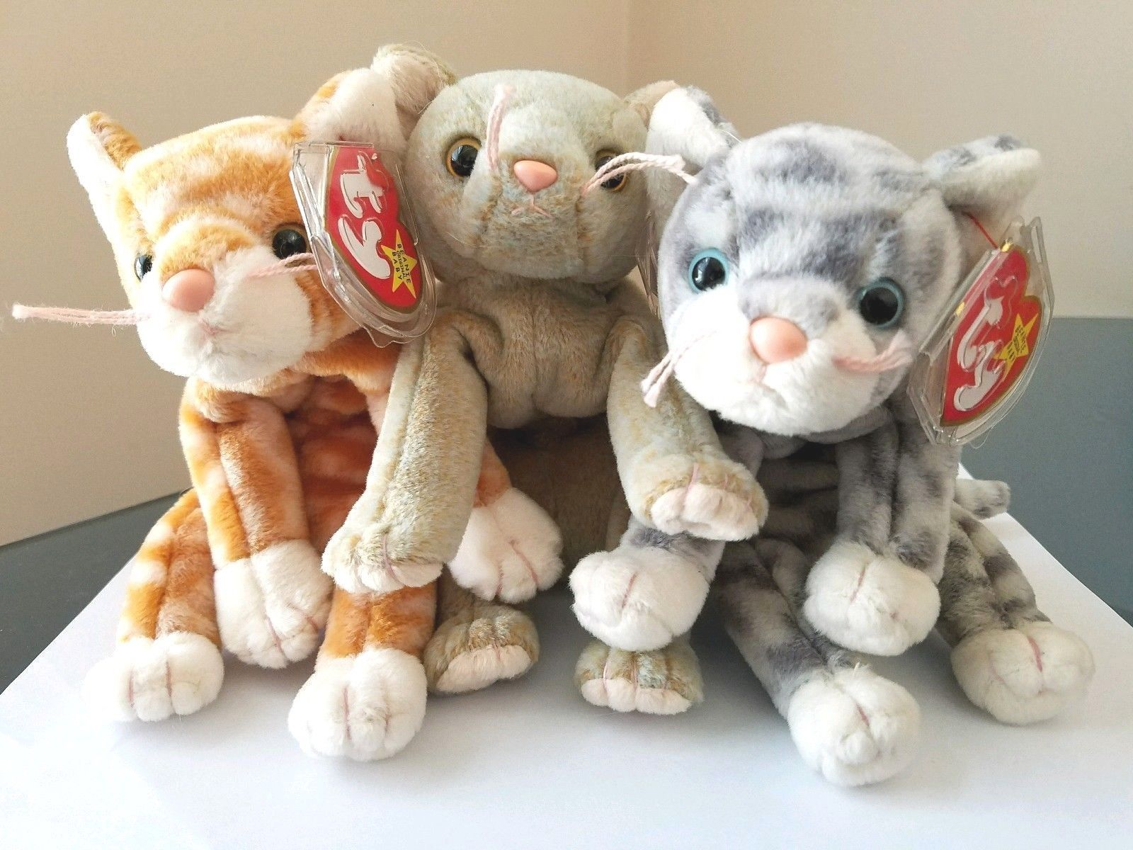 Lot Of 3 Ty Beanie Babies Cats Amber 4788522a5338