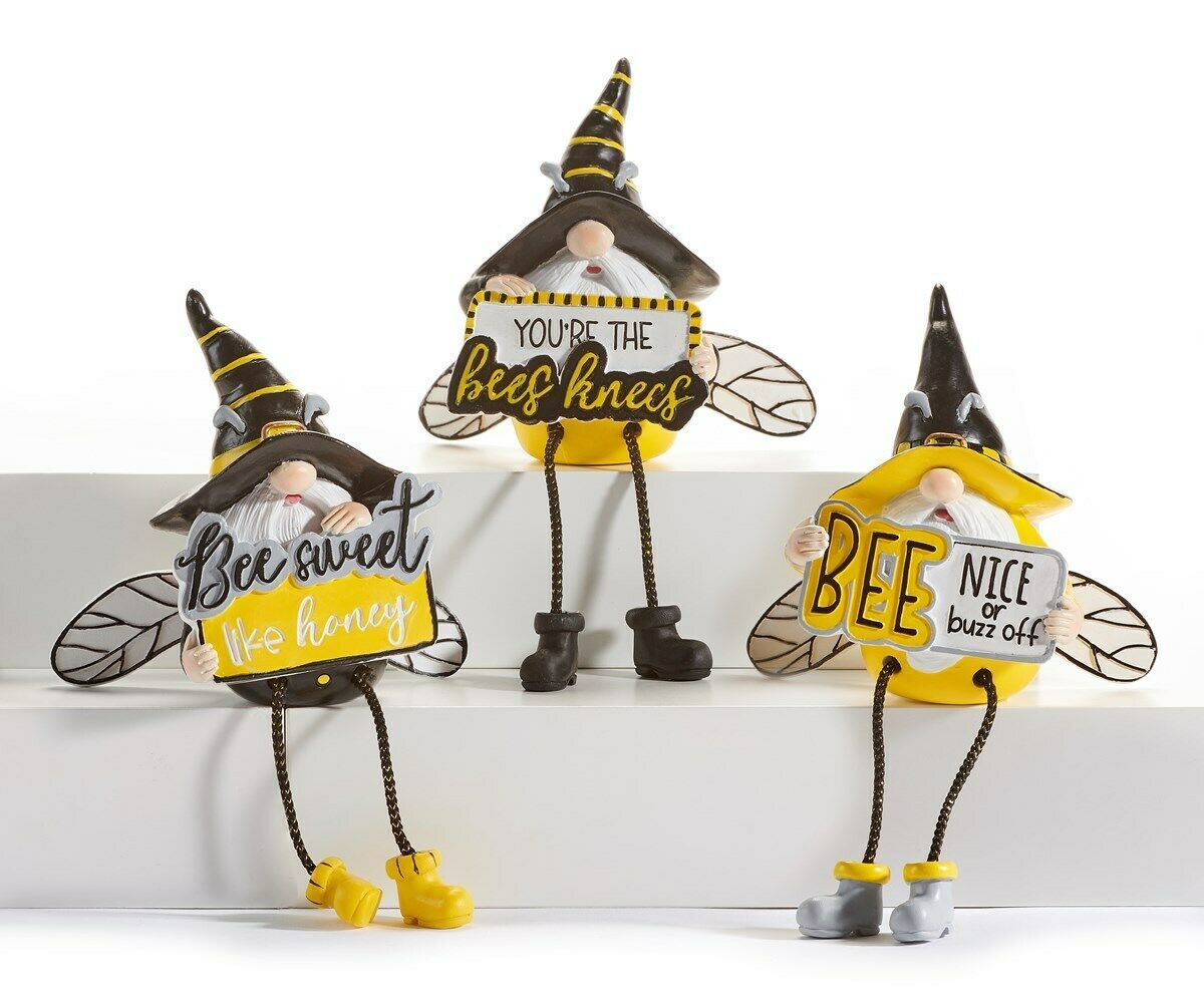 Set of 3 Gnomes Dressed as Bee Shelf Sitters with Sentiments Yellow & Black