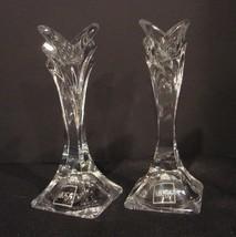 2 Mikasa Lead Crystal Art Deco Taper Candleholders, New w/Original Label - $9.99