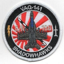 USN NAVY VAQ-141 E/A-18G BULLET SHADOWHAWKS RED SUN RAYS ROUND EMBROIDER... - $23.74